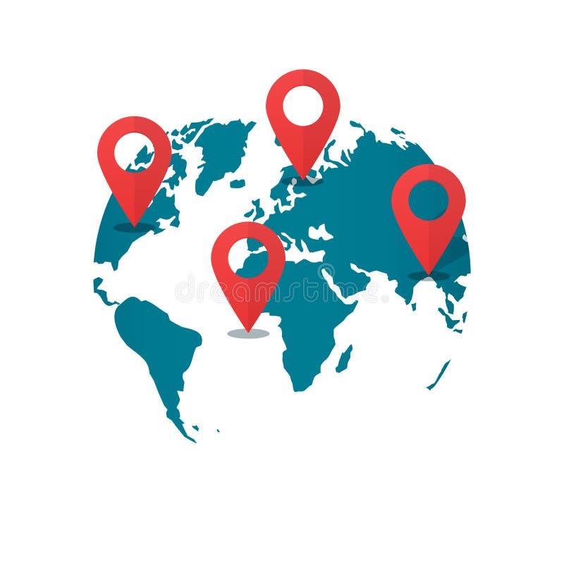 Pernos del destino del mapa del mundo, concepto de transporte global de los gps logístico stock de ilustración