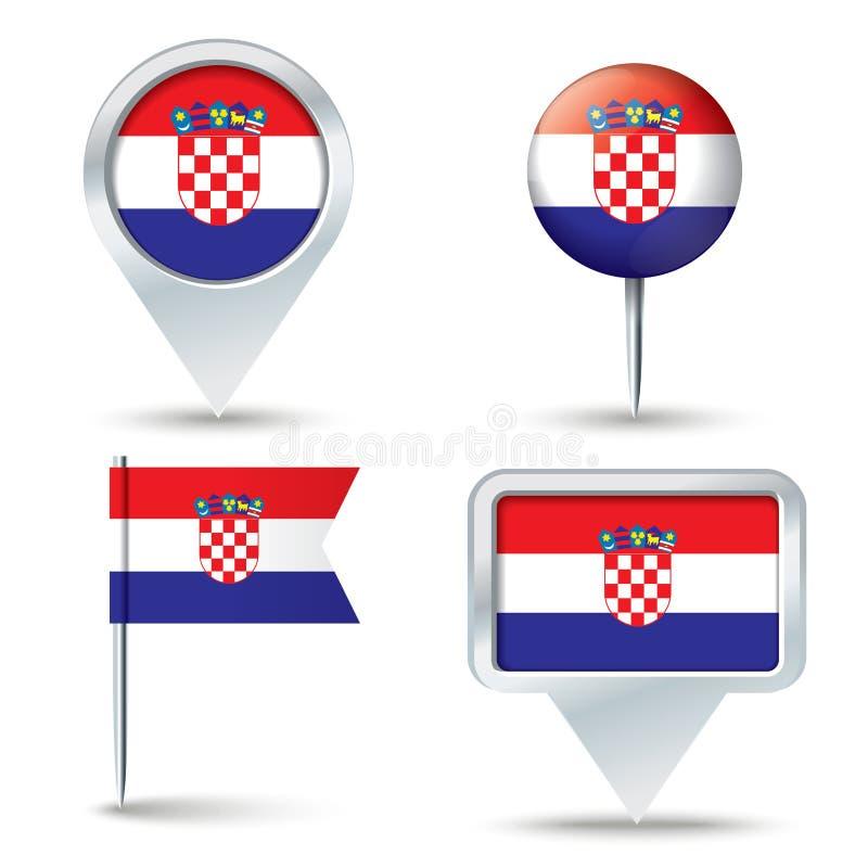 Pernos del mapa con la bandera de CROACIA libre illustration