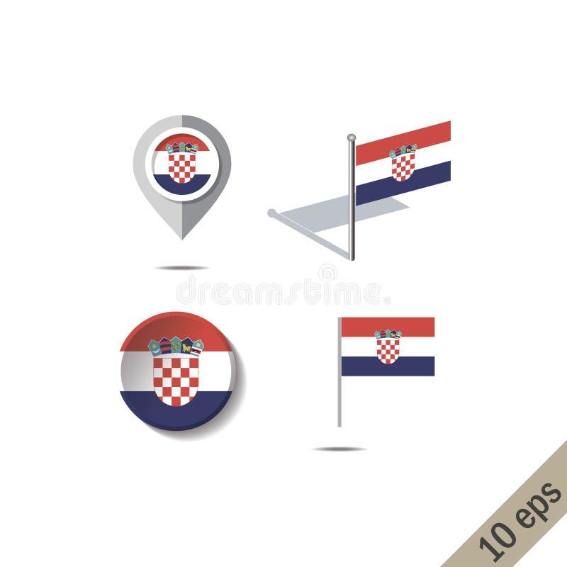 Pernos del mapa con la bandera de CROACIA stock de ilustración