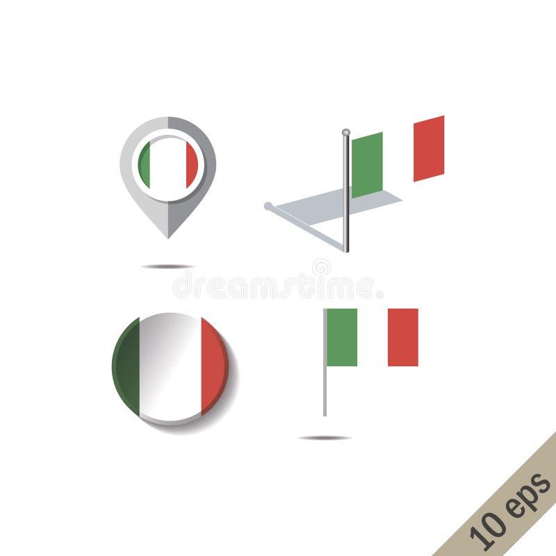 Pernos del mapa con la bandera de ITALIA stock de ilustración