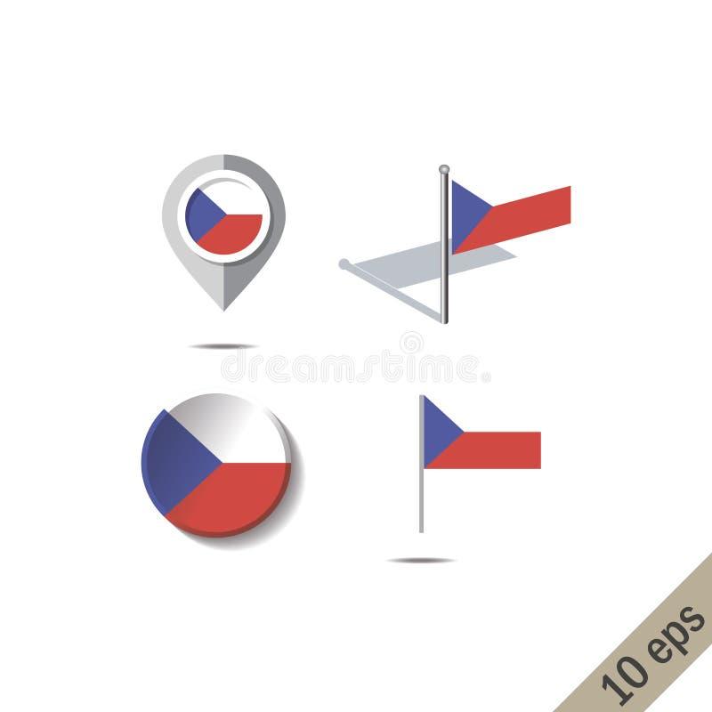 Pernos del mapa con la bandera de REPUPLIC CHECO stock de ilustración