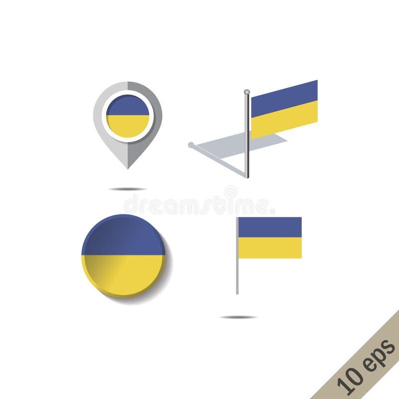 Pernos del mapa con la bandera de Ucrania ilustración del vector