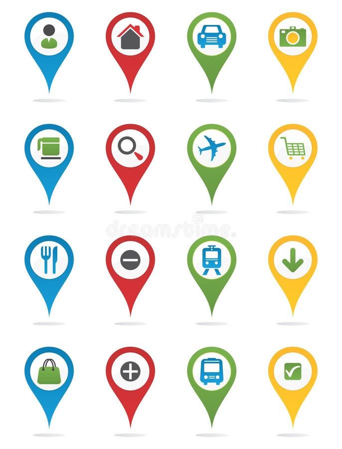 Pernos del mapa con los iconos stock de ilustración