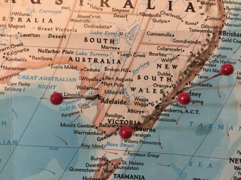 Pernos del mapa en Australia imagen de archivo