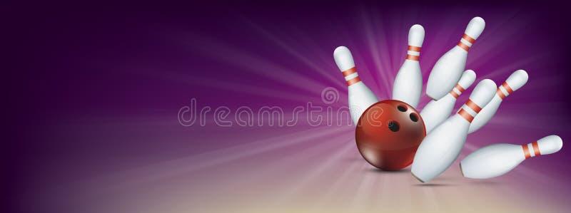 Pernos púrpuras de la bandera de Pin Deck Red Ball Strike que ruedan stock de ilustración