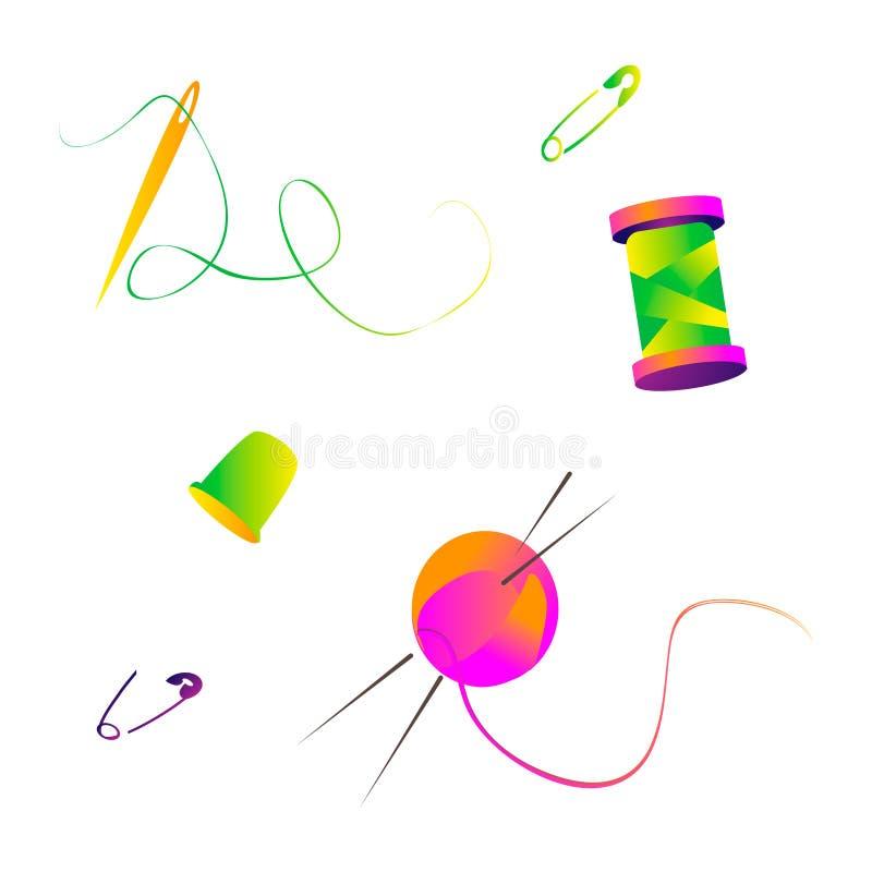 pernos que hacen punto coloreados brillantes del hilo y de las agujas para los accesorios de la costura stock de ilustración