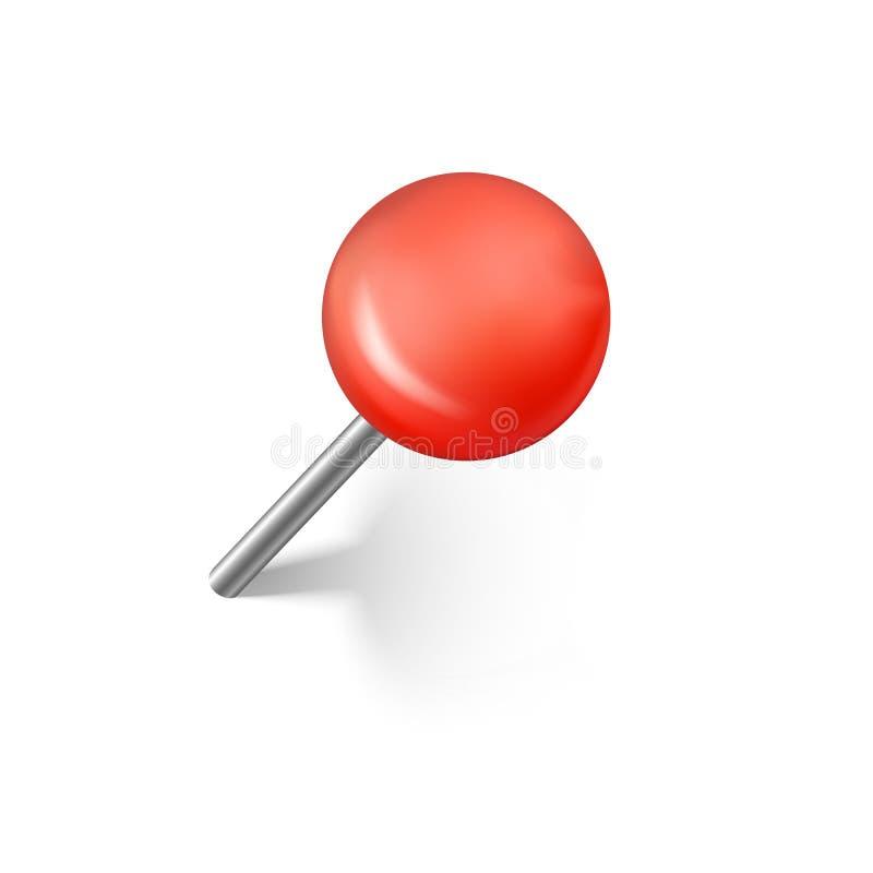 Pernos rojos del empuje con la sombra Perno realista del empuje de la oficina Ilustraci?n del vector stock de ilustración