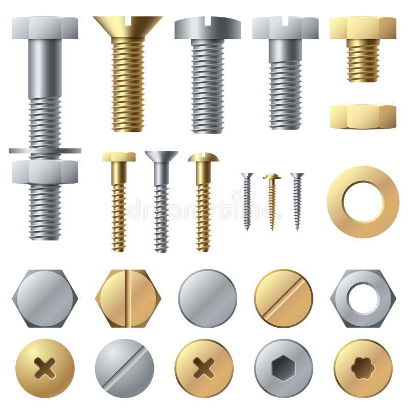 Pernos y tornillos Tornillo y perno del remache del hardware de la nuez de la lavadora Sistema aislado sujeciones del vector de C stock de ilustración