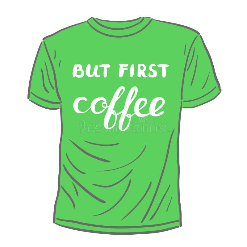 Pero primer café Letras de la mano del cepillo stock de ilustración