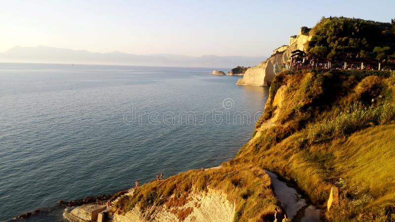 Perouladesstrand, het Eiland van Korfu, Griekenland royalty-vrije stock foto