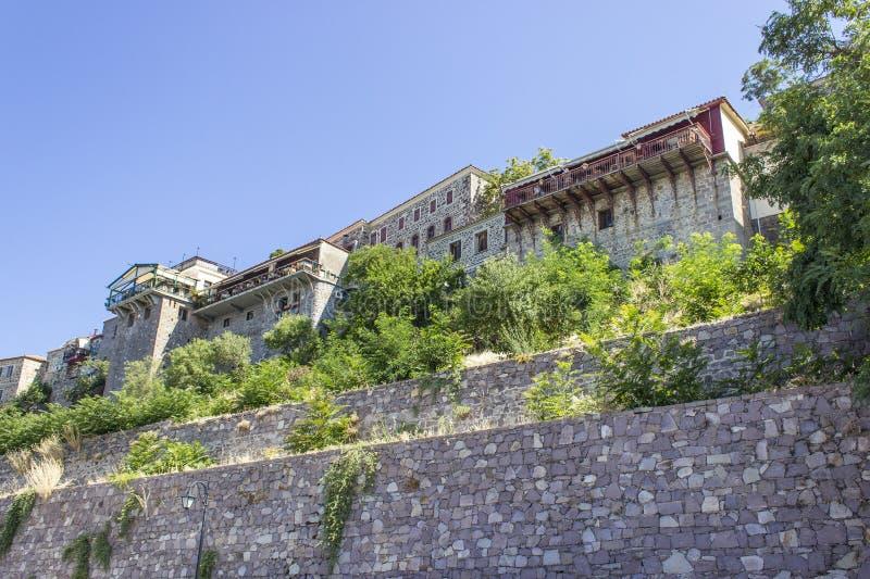 Perpective tiró de acuerdos tradicionales en Mylovos en Lesvos foto de archivo libre de regalías