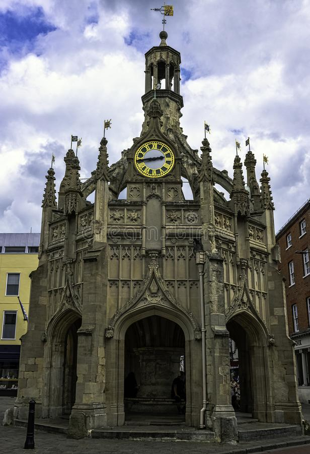 Perpendicular market cross in the centre of the city of Chichester, West Sussex, UK. Perpendicular market cross in the centre of the city of Chichester, West royalty free stock photo