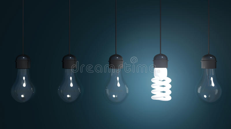 Perpetual motion with light bulbs and energy saver bulb stock illustration