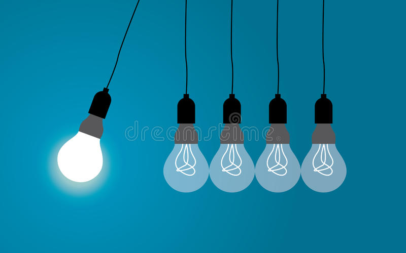 Perpetual motion with light bulbs. Idea concept on blue background, Vector. Perpetual motion with light bulbs. Idea concept on blue background, design flat style stock illustration