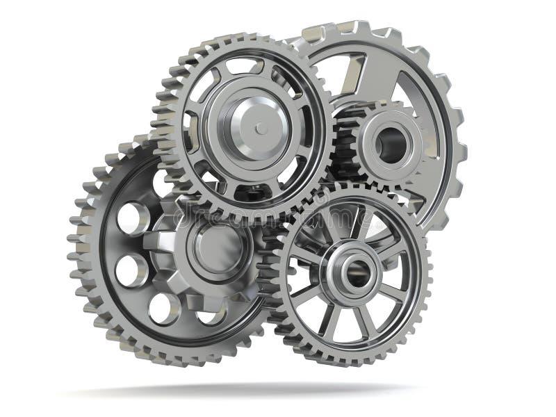 Perpetuum机动性。在白色被隔绝的背景的金属齿轮。 库存例证
