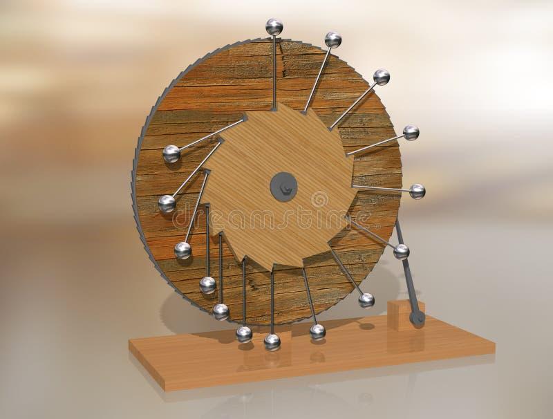 perpetuum mobile Leonardo Da Vinci ` s wieczystego ruchu maszyna ilustracja wektor