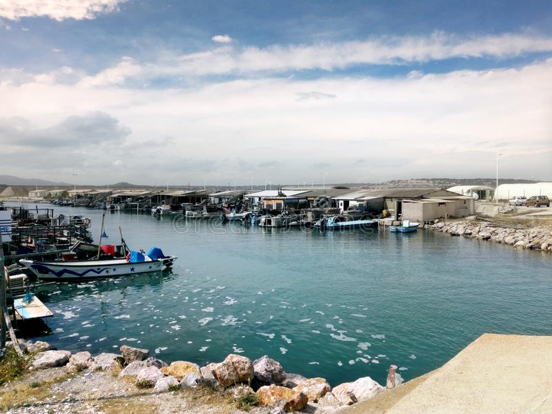 Oyster farm, Aragon, Languedoc-Roussillon stock image