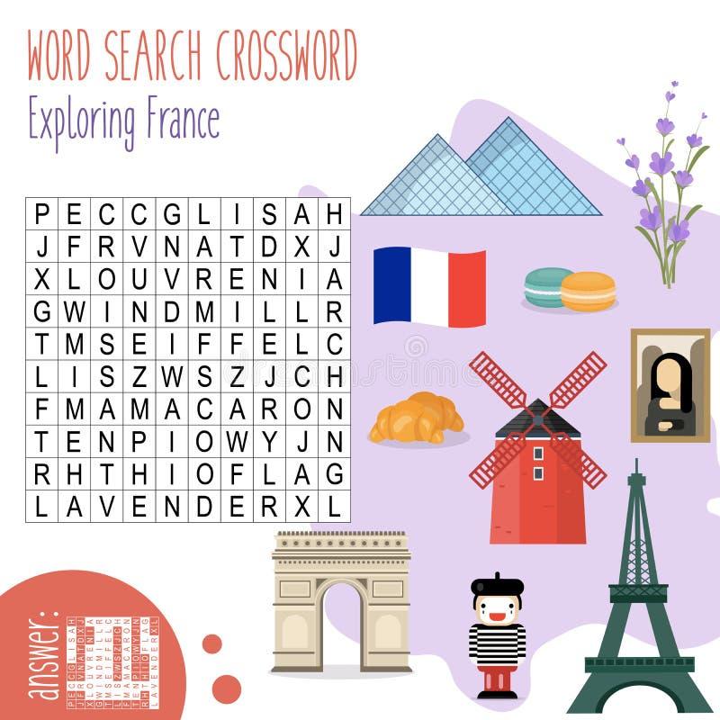 Perplessità di ricerca di parole incrociate `Exploring France` illustrazione vettoriale