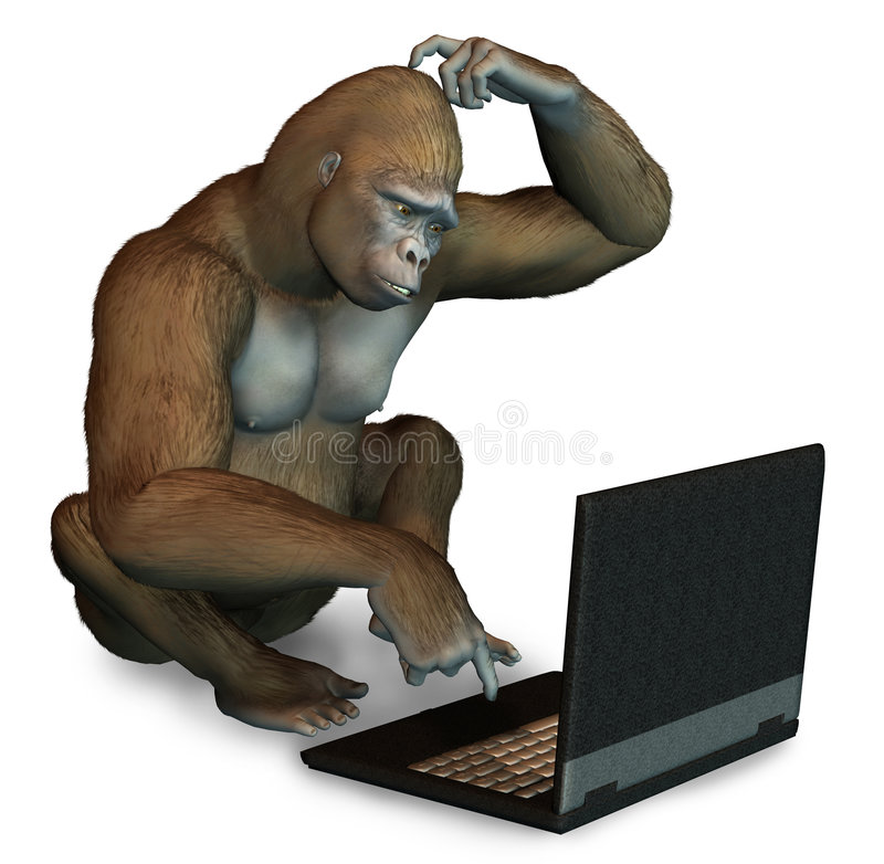 Perplexed Gorilla with a Laptop. 3D render of a confused gorilla trying to figure out how to use a laptop computer stock illustration