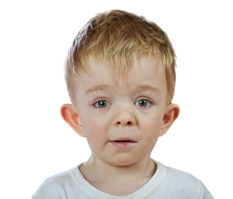 Perplexity chłopiec odizolowywająca zdjęcia stock