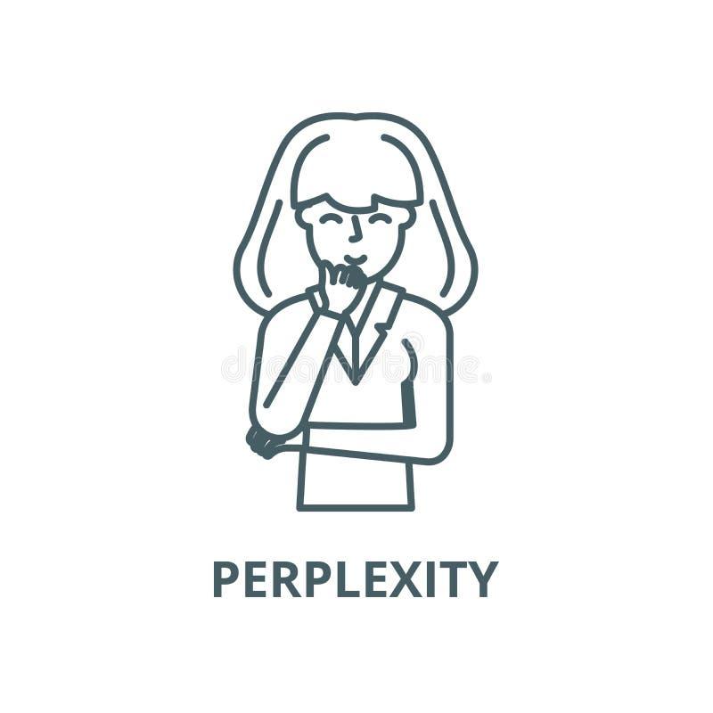 Perplexity wektoru linii ikona, liniowy poj?cie, konturu znak, symbol royalty ilustracja