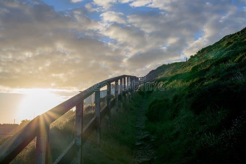 perranporth, Cornwall, Engeland, het UK Europa tijdens zonsopgang stock foto