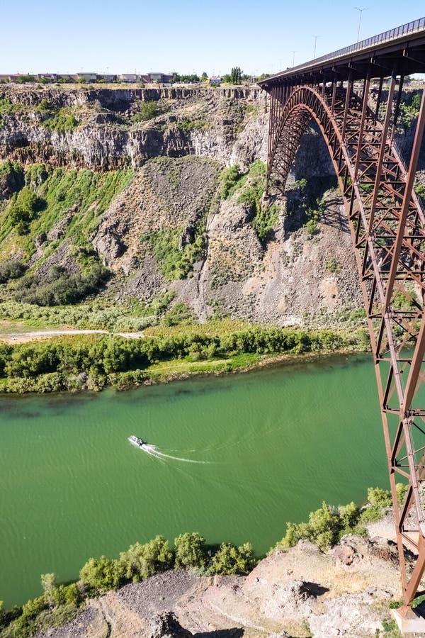 Perrine Bridge sobre o rio Snake, na manhã, Idaho fotografia de stock