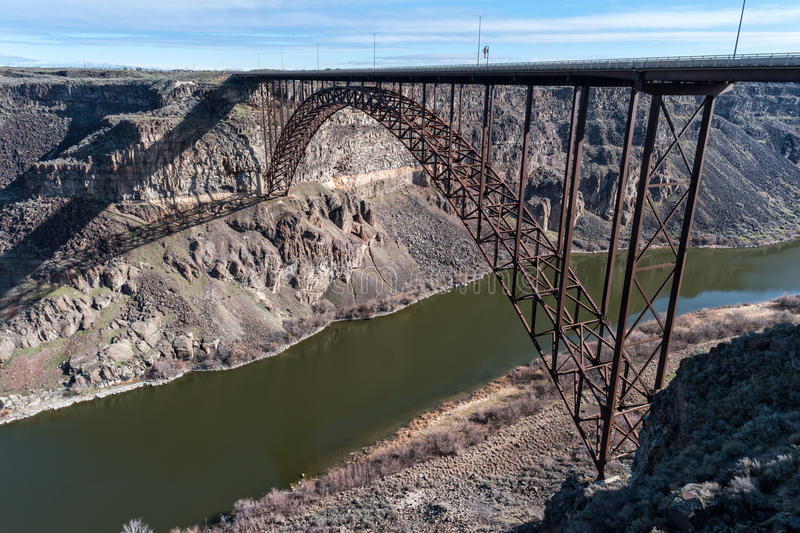 Perrine Memorial Bridge Snake River kanjon, Idaho royaltyfria foton
