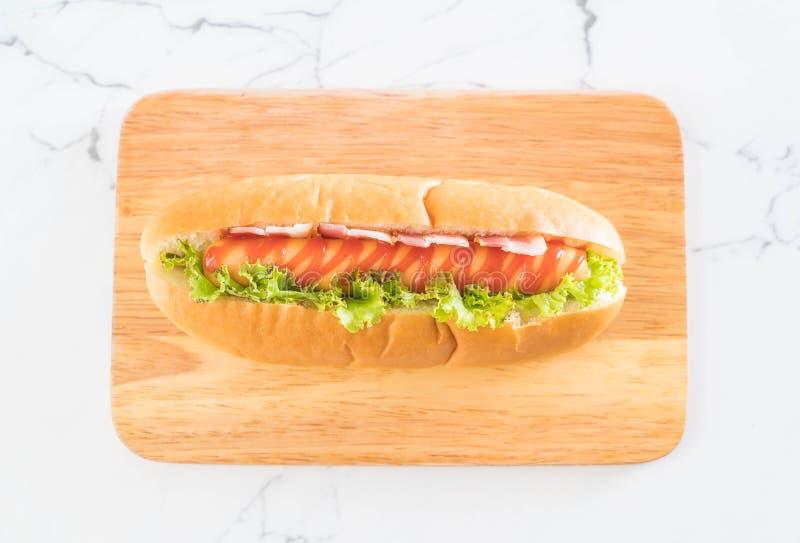 perrito caliente de la salchicha con la salsa de tomate fotos de archivo libres de regalías