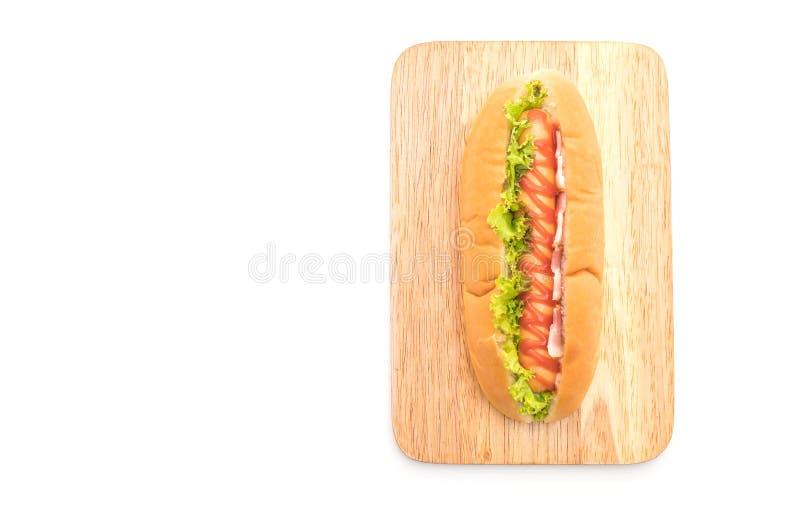 perrito caliente de la salchicha con la salsa de tomate foto de archivo libre de regalías