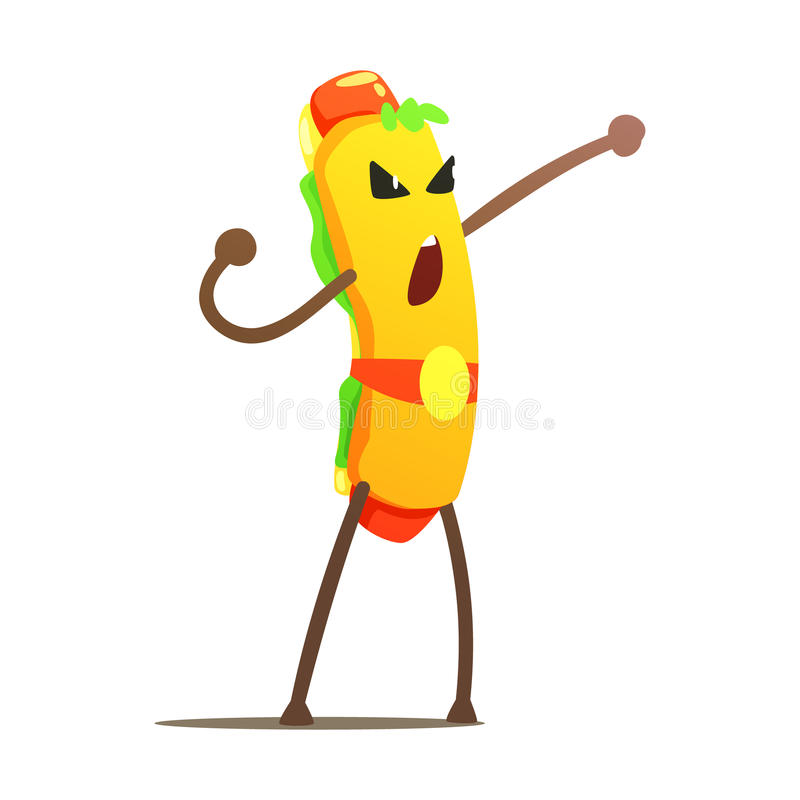 Perrito caliente en la correa de campeón Street Fighter, malo Guy Cartoon Character Fighting Illustration de los alimentos de pre libre illustration
