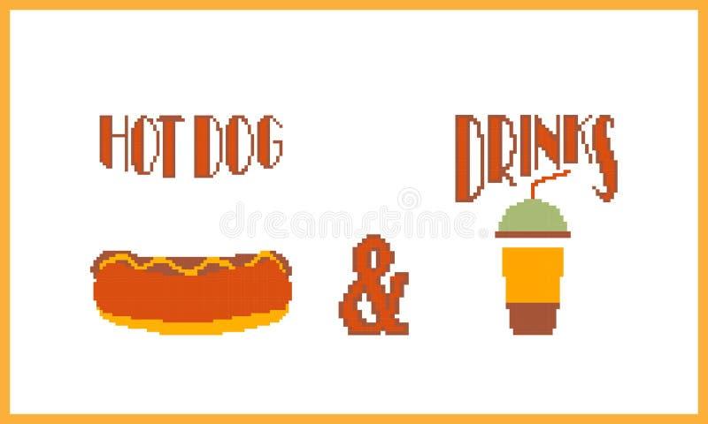 Perrito caliente y bebida E Ilustración del vector libre illustration