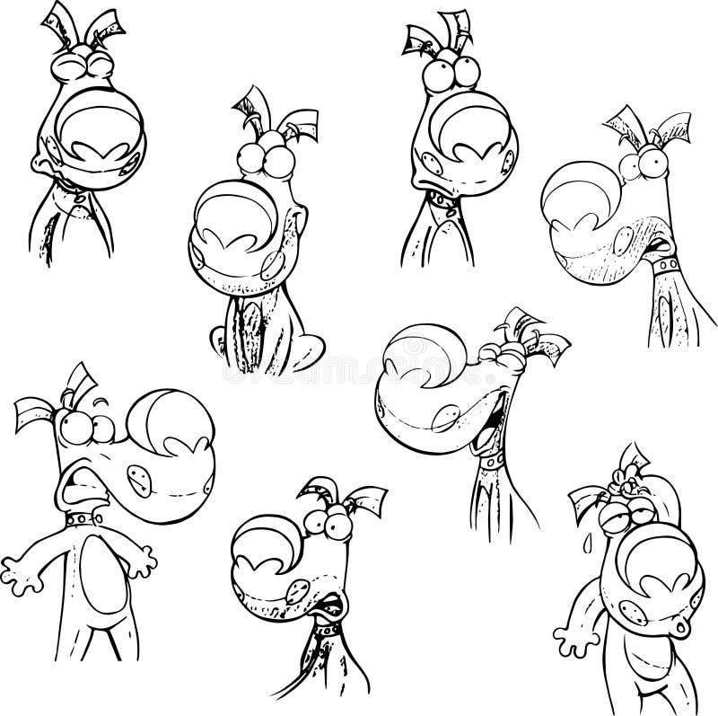 Perrito con diversas emociones y en actitudes ilustración del vector