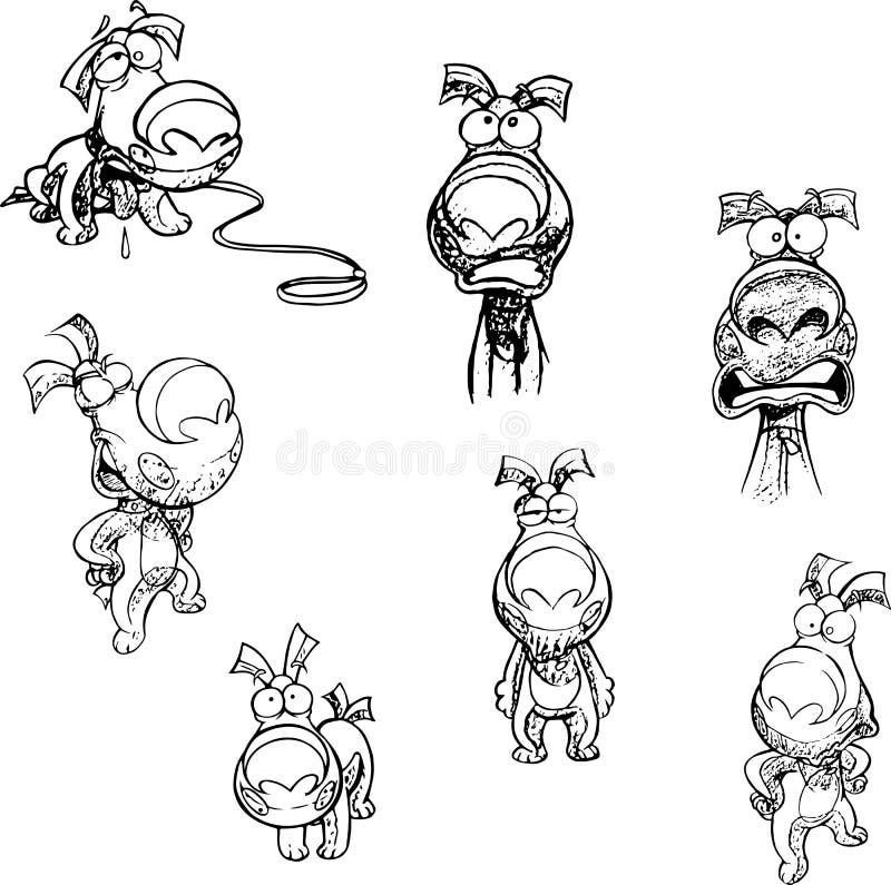 Perrito de Cartoonn con diversas emociones y en actitudes ilustración del vector