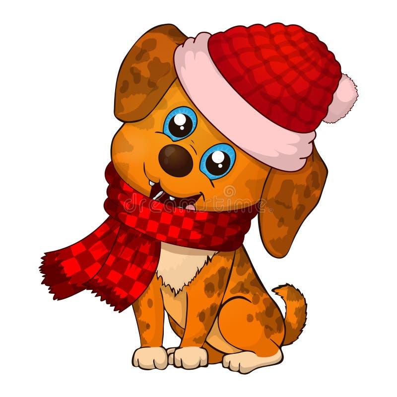 Perrito 2018 del Año Nuevo Historieta feliz del perro perro de la Navidad con la bufanda roja Perritos marrones lindos libre illustration
