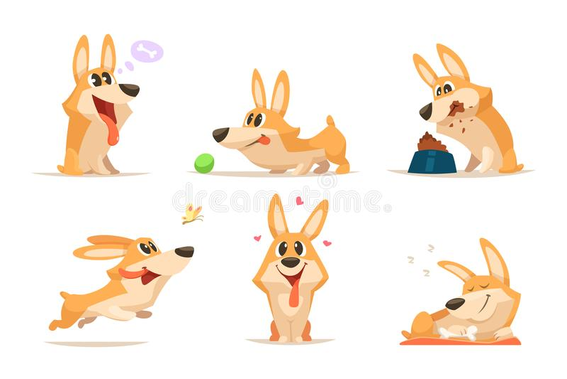 Perrito divertido de la historieta linda Animal del vector Perro en diversas actitudes de la acción libre illustration