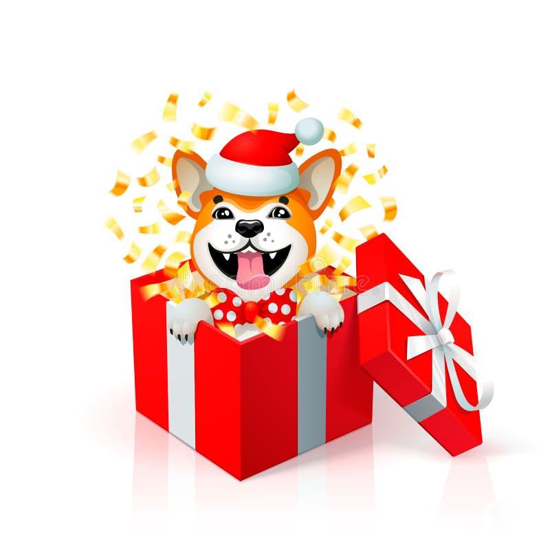 Perrito feliz de la historieta en la caja de regalo que lleva el sombrero de santas Retrato del perro japonés del inu de Akita co ilustración del vector
