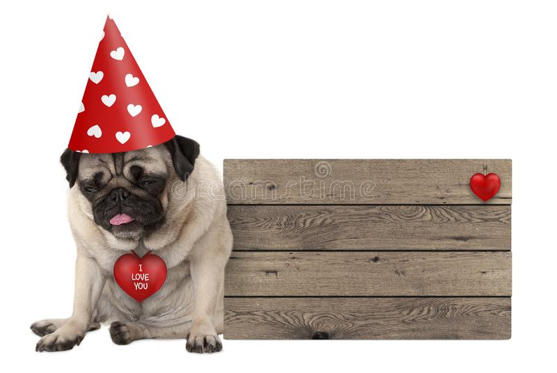 Perrito gruñón del perro del barro amasado del día del ` s de las tarjetas del día de San Valentín con el sombrero del partido qu fotos de archivo libres de regalías