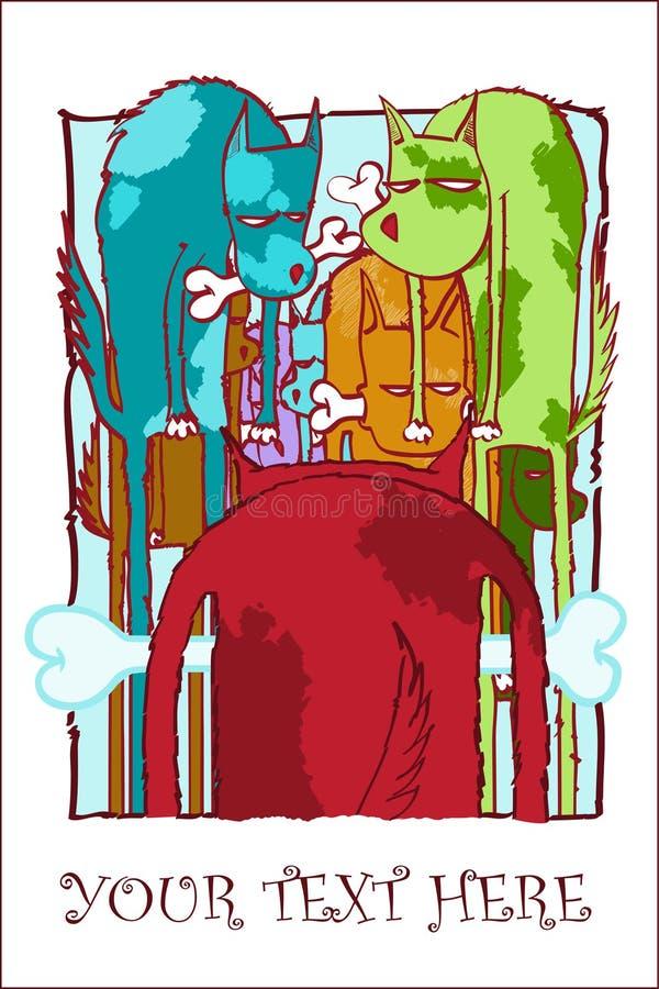 Perrito hambriento con la tarjeta de felicitación del hueso. libre illustration