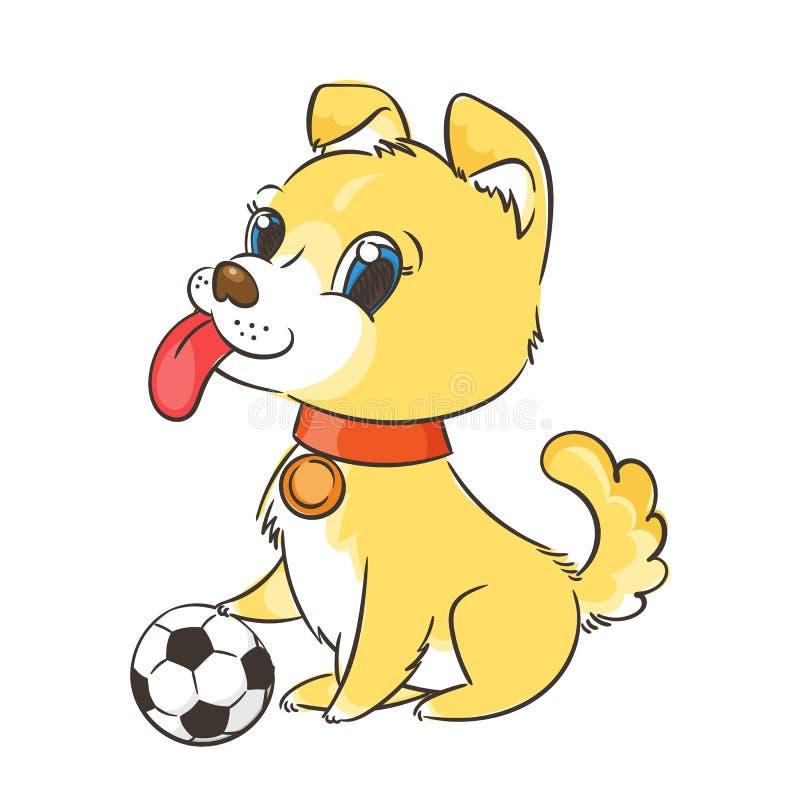 Perrito lindo con un balón de fútbol, una tarjeta o un concepto de la impresión stock de ilustración