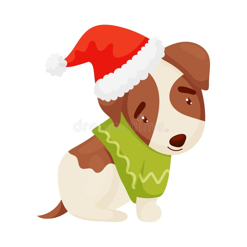 Perrito lindo con un suéter verde Ilustraci?n del vector en el fondo blanco stock de ilustración