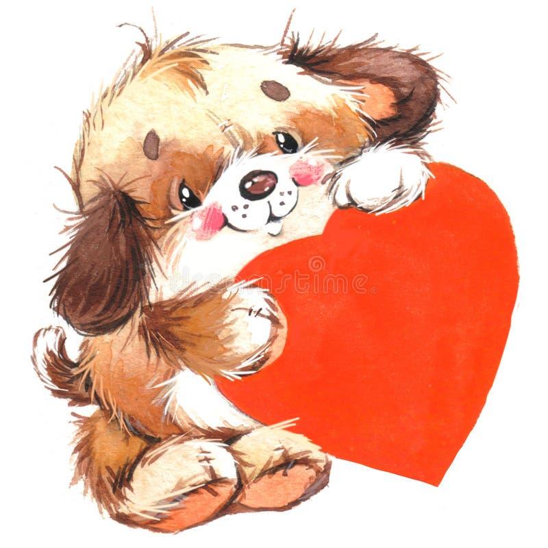 Perrito lindo de Valentine Dayand dod y corazón rojo watercolor stock de ilustración