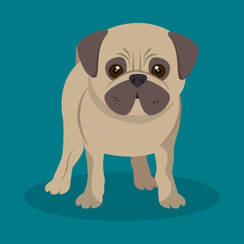 perrito lindo del barro amasado que coloca el fondo azul stock de ilustración