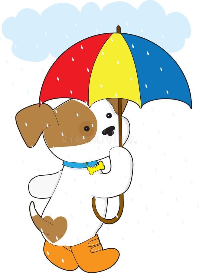 Perrito lindo en lluvia ilustración del vector