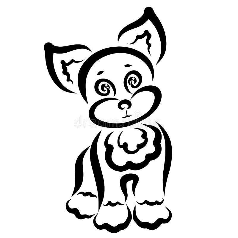 Perrito modesto lindo con los ojos buenos, modelo negro ilustración del vector