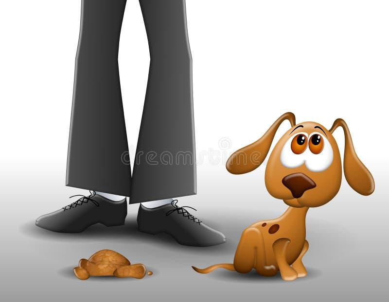 Perrito Pooped en el suelo 2 ilustración del vector