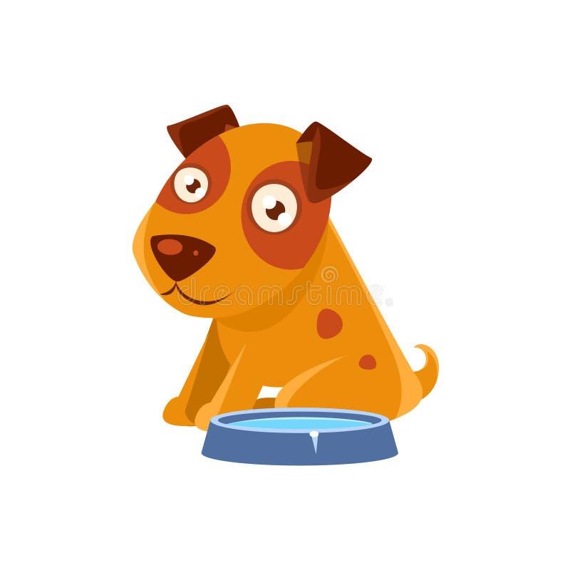 Perrito que se sienta al lado del cuenco con agua libre illustration