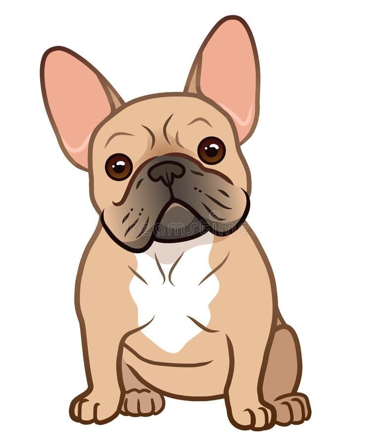 Perrito que se sienta lindo del dogo francés con el ejemplo principal divertido de la historieta del vector de la inclinación ais stock de ilustración