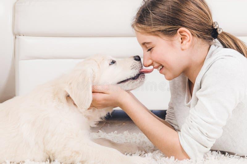 Perrito sonriente del perro perdiguero de la tenencia de la muchacha imagen de archivo libre de regalías