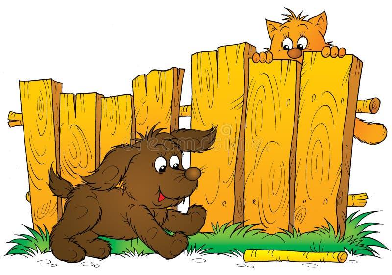Perrito y gatito stock de ilustración